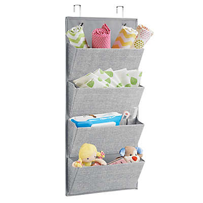 iDesign® Aldo Fabric Hanging 4-Pocket Organizer in Grey