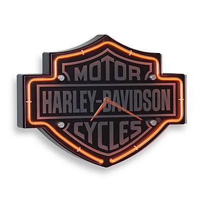 Harley-Davidson Etched Bar & Shield Shape Neon Clock