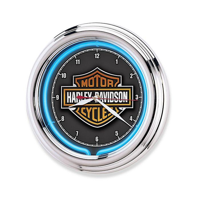 Alternate image 1 for Harley-Davidson Essential Bar & Shield Neon Clock