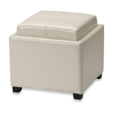 Safavieh Hudson Leather Harrison Single Tray Ottoman by Bed Bath And Beyond