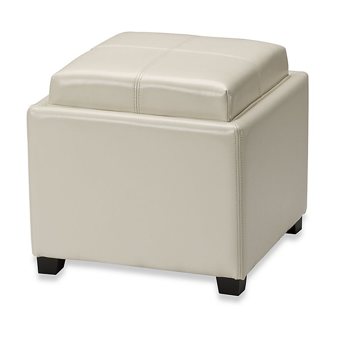 Ottomans Lifestyle Single Ottoman: Safavieh Hudson Leather Harrison Single Tray Ottoman