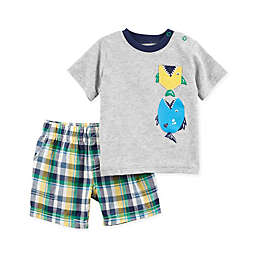 carter's® 2-Piece Fish T-Shirt and Plaid Short Set in Grey