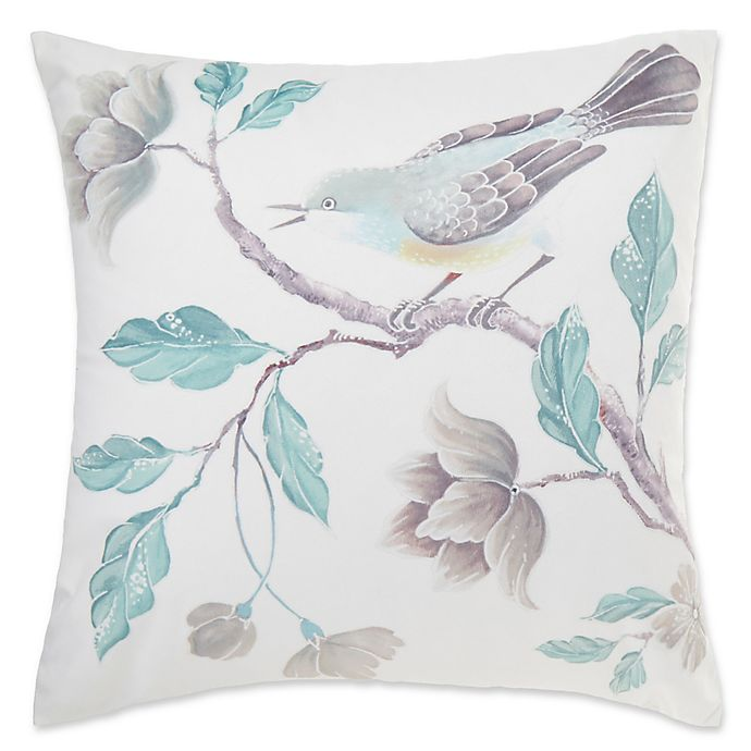 Alternate image 1 for Floral Bird Square Throw Pillow Cover in Aqua