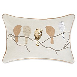 Make-Your-Own-Pillow Beaded Birds Oblong Throw Pillow Cover in Gold