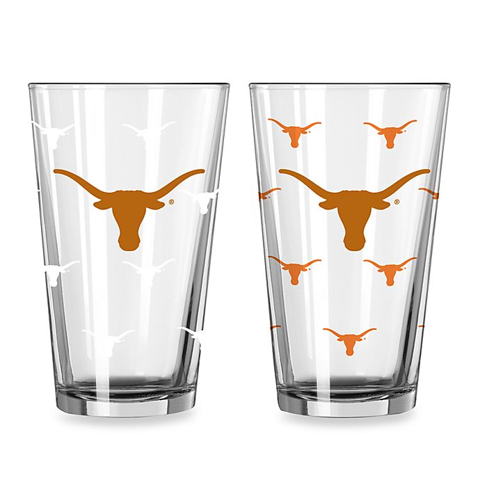 Alternate image 1 for University of Texas Color Changing 16-Ounce Pint Glasses (Set of 2)