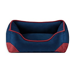 Rio Unisuede Elbow Patch Box Pet Bed in Navy/Red