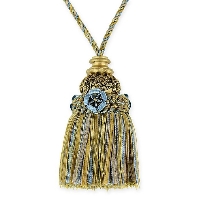 Alternate image 1 for Antique Inclusive Key Tassel Tie Back in Blue/Gold