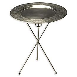 Butler Dahlia Folding Metal Accent Table in Silver
