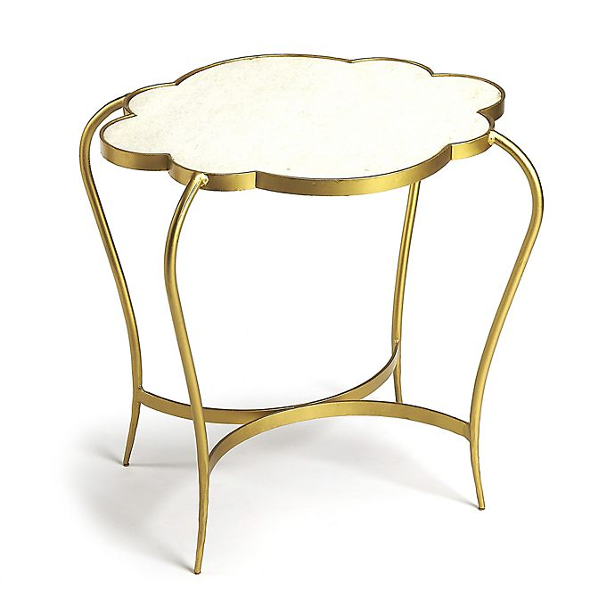 Butler Adria Tall Marble End Table In Gold Bed Bath Beyond