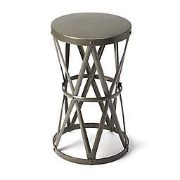 Butler Empire Round Iron Accent Table in Grey