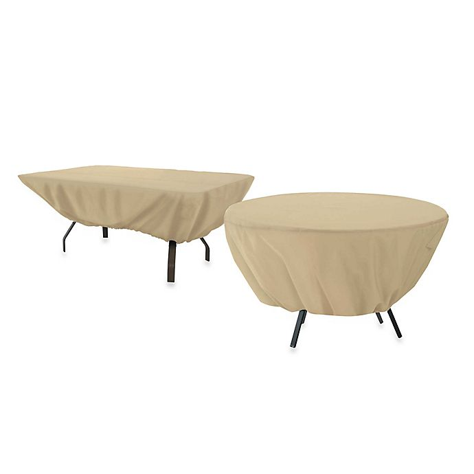 Alternate image 1 for Classic Accessories Terrazzo Rectangular/Oval Patio Table Cover in Sand