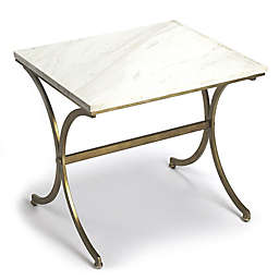Butler Travertine Accent Table in Gold