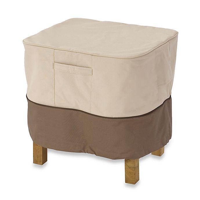 Alternate image 1 for Classic Accessories® Veranda Small Square Ottoman/Side Table Cover in Pebble