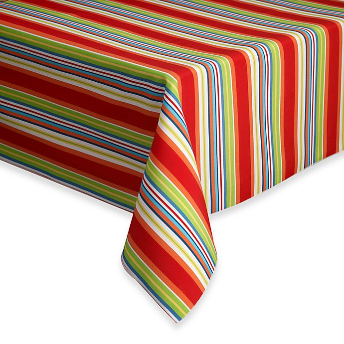 Alternate image 1 for Destination Summer Mystic Stripe 52-Inch x 70-Inch Oblong Indoor/Outdoor Tablecloth