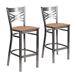 Flash Furniture Clear Coated Bar Stools with Natural Wood Seats (Set of 2)