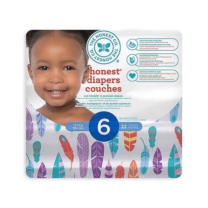 Alternate image 1 for Honest Diapers in Painted Feathers Pattern