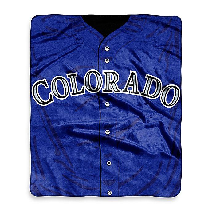 Alternate image 1 for MLB Colorado Rockies Jersey Raschel Throw Blanket