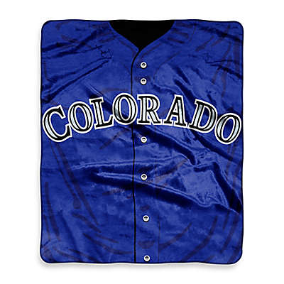 MLB Colorado Rockies Jersey Raschel Throw Blanket