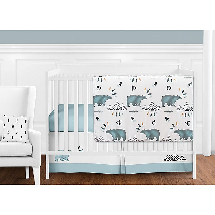 Alternate image 1 for Sweet Jojo Designs Bear Mountain 11-Piece Crib Bedding Set in Blue/Black