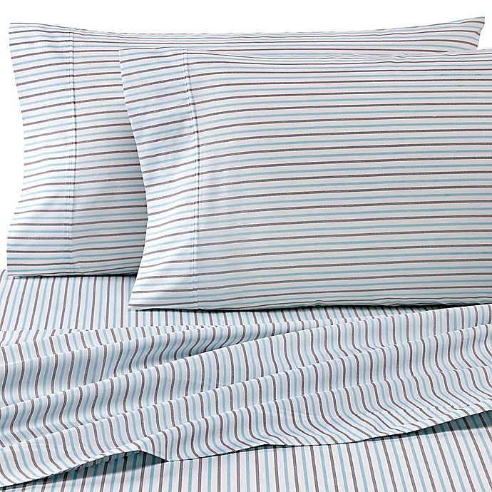 Alternate image 1 for Heartland® HomeGrown™ 325 TC Cotton Percale Full XL Fitted Sheet in Stripe