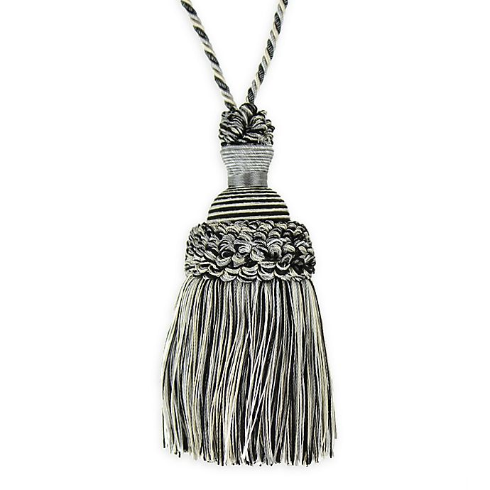 Alternate image 1 for Golden Age Key Tassel Tie Back in Silver/Black