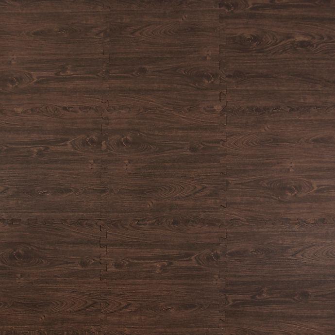 Alternate image 1 for Tadpoles™ Woodgrain Plush 9-Piece Play Mat in Brown