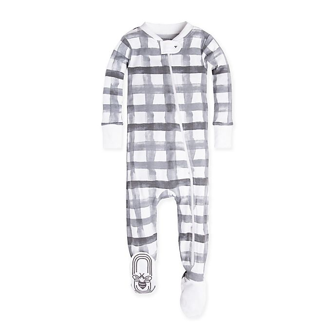 Alternate image 1 for Burt's Bees Baby® Plaid Footed Pajama in Grey