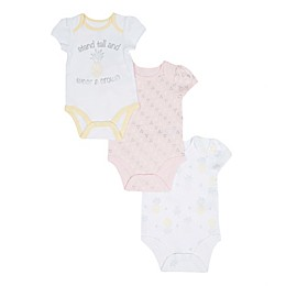 Sterling Baby 3-Pack Pineapple Bodysuits in White/Pink