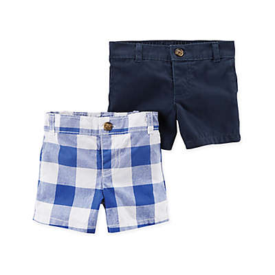 carter's® 2-Pack Checkered Shorts in Blue