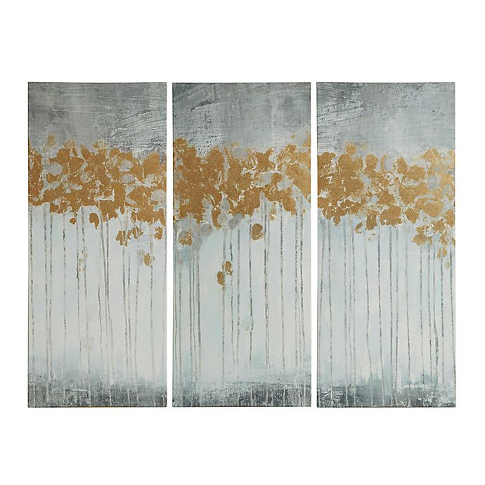 Alternate image 1 for Madison Park Forest Gel Coat Canvas with Gold Foil Embellishment Wall Art in Grey (Set of 3)