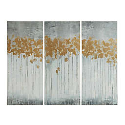 Madison Park Forest Gel Coat Canvas with Gold Foil Embellishment Wall Art in Grey (Set of 3)