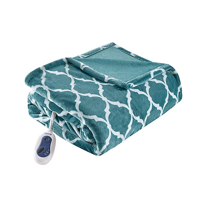 Alternate image 1 for Beautyrest® Ogee Heated Oversized Throw Blanket in Teal