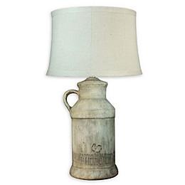Fangio Lighting Martin Richard Barnyard Table Lamp in Beige/Tan with Linen Shade