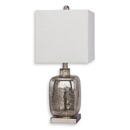 Fangio Lighting Martin Richard Glass and Metal Table Lamp in Brushed Steel with Fabric Shade