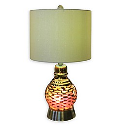 Fangio Lighting Cory Martin Wave Nightlight Table Lamp in Antique Brass with Linen Shade
