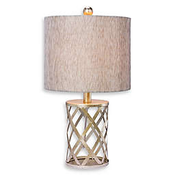 Fangio Lighting Cory Martin Cage Table Lamp in Gold with Linen Shade