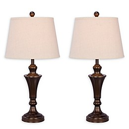 Fangio Lighting Metal Table Lamp with Fabric Shade (Set of 2)