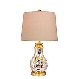 Fangio Lighting Bubbled Genie Bottle Mercury Glass Table Lamp in Satin Brass with Linen Shade
