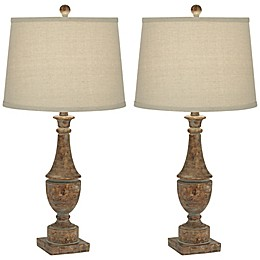 Pacific Coast® Lighting Faux Wood Turning 1-Light Table Lamps (Set of 2)