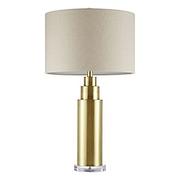 Madison Park Signature Devon Table Lamp in Brass with Cream Fabric Shade
