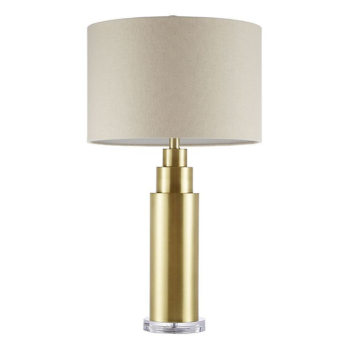 Alternate image 1 for Madison Park Signature Devon Table Lamp in Brass with Cream Fabric Shade