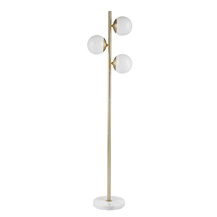 Alternate image 1 for INK+IVY Holloway 3-Light Floor Lamp in Gold with White Glass Shades