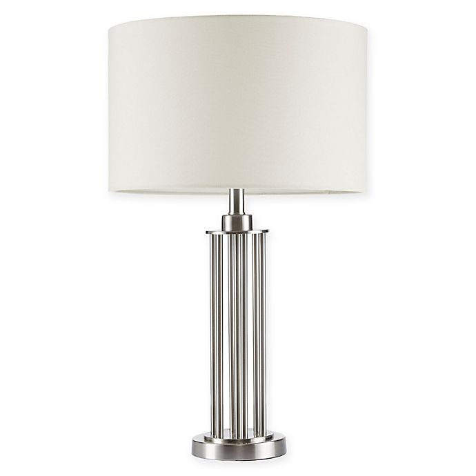 Alternate image 1 for Madison Park Signature Kingston Table Lamp in Silver with White Fabric Shade