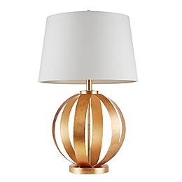 INK+IVY Warren Table Lamp in Gold with White Fabric Shade