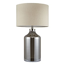 Madison Park Signature Colby Table Lamp in Silver with Beige Linen Shade