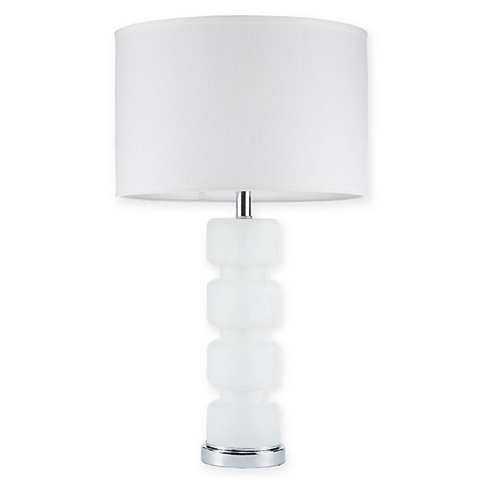 Alternate image 1 for Madison Park Emery Table Lamp with Fabric Shade in White