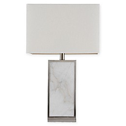 Hampton Hill Walden Table Lamp in White/Silver with Cotton/Linen Shade