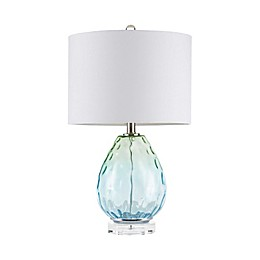 Urban Habitat Borel Table Lamp with CFL Bulb and White Fabric Shade in Blue