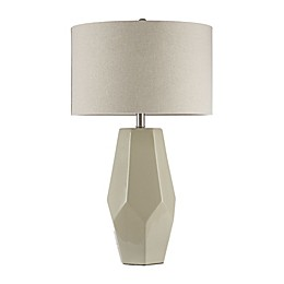 Madison Park Facted Table Lamp in White with Fabric Shade