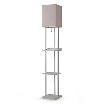 Equip Your Space Functional 1-Light Floor Lamp Shelf in White